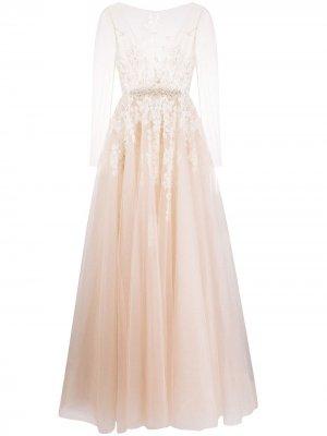 Свадебное платье с прозрачными рукавами Loulou. Цвет: нейтральные цвета