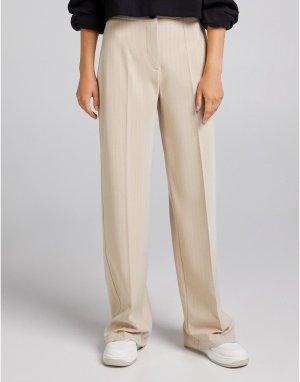 Бежевые свободные брюки мужского кроя с широкими штанинами в полоску -Светло-бежевый цвет Bershka