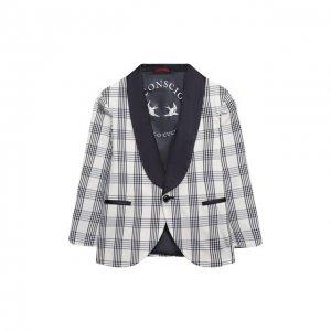 Хлопковый пиджак Brunello Cucinelli. Цвет: разноцветный