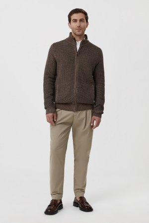 Жакет мужской крупной вязки с шерстью Finn-Flare. Цвет: коричневый