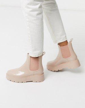 Бежевые непромокаемые ботинки челси -Бежевый ASOS DESIGN