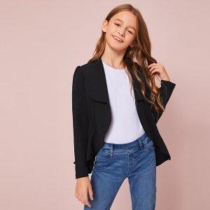Асимметричный пиджак для девочек SHEIN. Цвет: чёрный