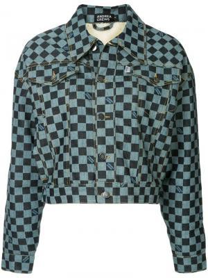 Джинсовая куртка в клетку Andrea Crews. Цвет: синий