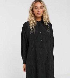 Черное платье-рубашка мини со звериным рисунком -Черный Monki