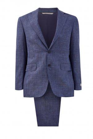 Классический костюм из шерсти и шелка с волокнами льна CANALI. Цвет: синий