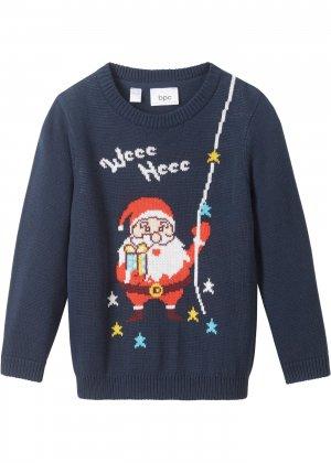 Пуловер с новогодним принтом bonprix. Цвет: синий
