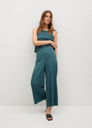 Струящиеся брюки-кюлоты - Cintia Mango. Цвет: синий нефть