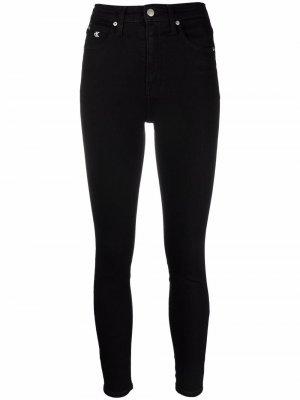 Брюки скинни с завышенной талией Calvin Klein Jeans. Цвет: черный