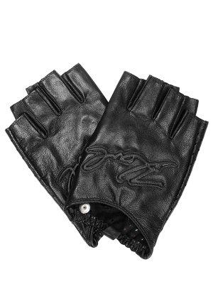 Перчатки-митенки кожаные K/Signature KARL LAGERFELD