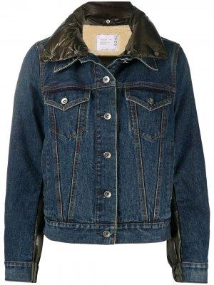 Джинсовая куртка с дутой вставкой Sacai. Цвет: синий