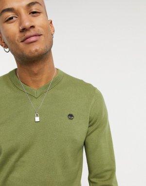 Джемпер с v-образным вырезом -Зеленый цвет Timberland