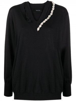 Декорированный пуловер асимметричного кроя Simone Rocha. Цвет: черный