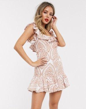 Платье мини с вышивкой ришелье -Розовый Bardot