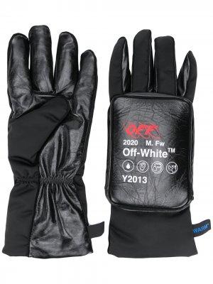 Дутые перчатки с логотипом Off-White. Цвет: черный