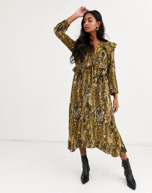 Платье миди со змеиным принтом -Мульти BA&SH