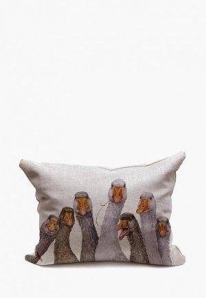 Подушка декоративная Счастье в мелочах Гуси. Цвет: серый