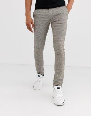Облегающие строгие брюки в классическую клетку коричневого цвета -Коричневый цвет Topman