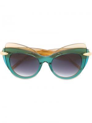 Солнцезащитные очки в оправе кошачий глаз Pomellato. Цвет: телесный