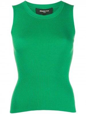 Топ тонкой вязки без рукавов Paule Ka. Цвет: зеленый