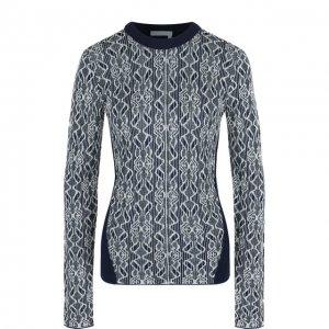 Приталенный пуловер с круглым вырезом Chloé. Цвет: синий