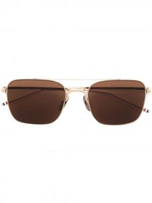 Солнцезащитные очки-авиаторы Thom Browne Eyewear. Цвет: коричневый