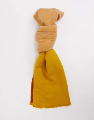 Супермягкий длинный шарф коричневого цвета в стиле колор блок ASOS DESIGN-Мульти
