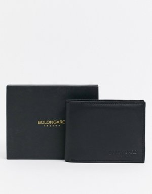 Кожаный бумажник с тисненым логотипом -Черный Bolongaro Trevor