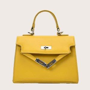 Минималистская сумка-портфель с клапаном SHEIN. Цвет: жёлтые