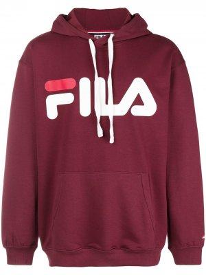 Толстовка с капюшоном и логотипом Fila. Цвет: красный
