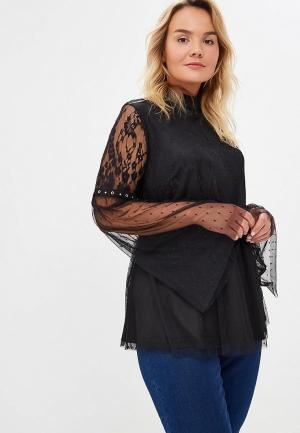 Блуза LOST INK PLUS PREMIUM COCKTAIL TOP WITH LACE SLEEVE. Цвет: черный