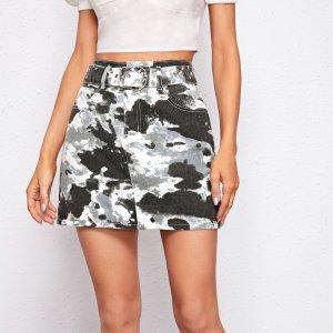 Разноцветная джинсовая юбка с карманом и поясом SHEIN. Цвет: многоцветный