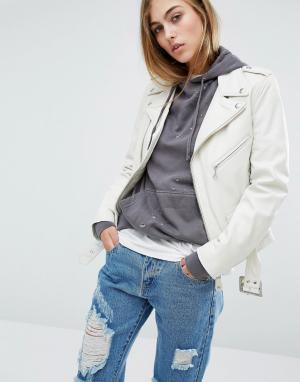 Байкерская кожаная куртка Schott. Цвет: белый