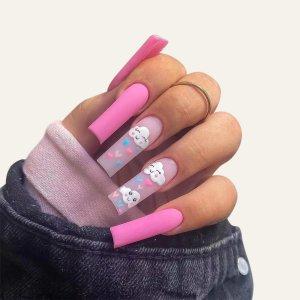 24шт Накладные ногти с мультипликационным рисунком и 1 лист лента пилочка для ногтей SHEIN. Цвет: розовые