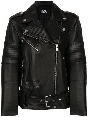 Байкерская куртка свободного кроя Karl Lagerfeld. Цвет: чёрный