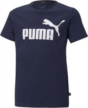 Футболка для мальчиков ESS, размер 140-146 Puma. Цвет: синий