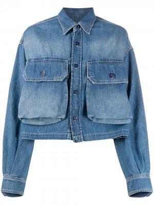 Джинсовая куртка с карманами R13. Цвет: синий