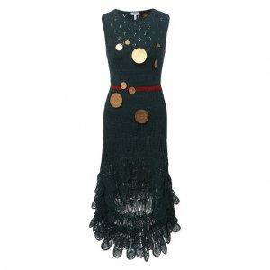 Хлопковое платье x Paulas Ibiza Loewe. Цвет: зелёный