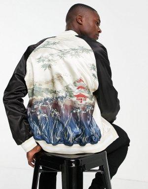 Куртка в черном и бежевом цветах с вышивкой на спинке Souvenir-Разноцветный Topman
