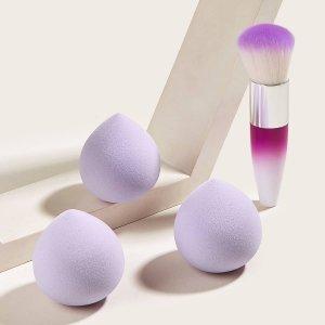 1шт кисть для тонального крема и 3шт губка макияжа SHEIN. Цвет: пурпурный