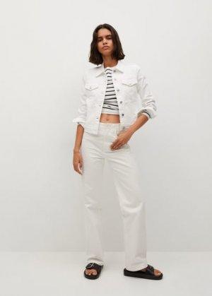 Джинсовая куртка из хлопка - Vicky Mango. Цвет: белый