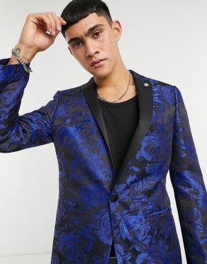 Темно-синий пиджак с жаккардовым цветочным рисунком Twisted Tailor