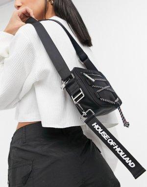 Черная прямоугольная сумка с отделкой разноцветным шнурком -Черный цвет House of Holland