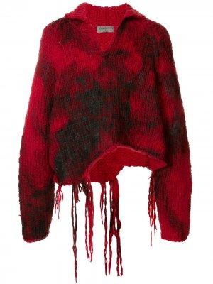 Пуловер с эффектом потертости Yohji Yamamoto. Цвет: красный