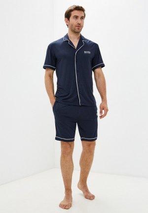 Пижама Boss Smooth Short Set. Цвет: синий