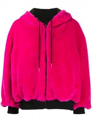 Двусторонняя куртка-бомбер с капюшоном Karl Lagerfeld. Цвет: розовый