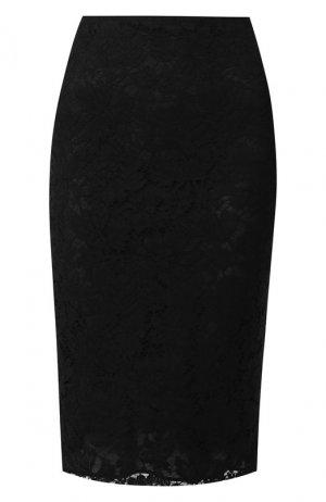 Кружевная юбка-миди Valentino. Цвет: черный
