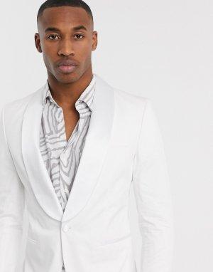 Белый смокинг с атласными лацканами наклонной формы Premium Jack & Jones