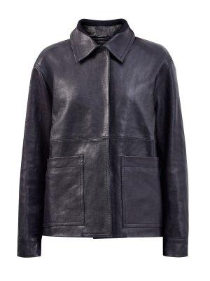 Кожаная куртка в стиле ретро с объемными накладными карманами LORENA ANTONIAZZI. Цвет: черный
