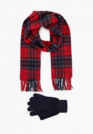 Комплект Barbour шарф и перчатки. Цвет: разноцветный