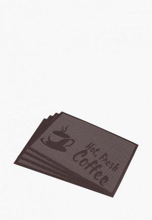 Комплект салфеток сервировочных El Casa. Цвет: коричневый